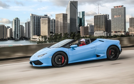 Wallpaper Lamborghini Huracan LP 610-4 blue supercar side view