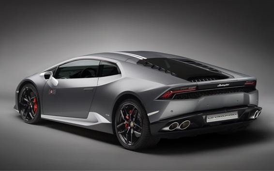 Papéis de Parede Lamborghini LP 610-4 Huracan supercar cinza retrovisor