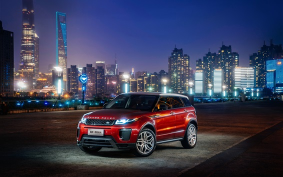 Wallpaper Land Rover Range Rover Evoque red SUV at city night