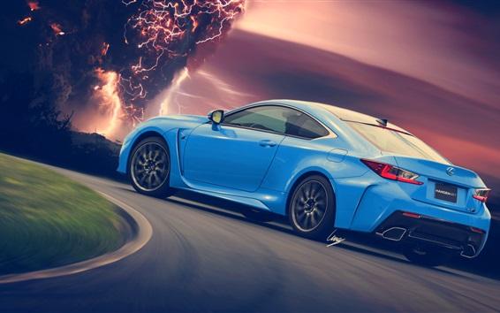 Обои Lexus RC-F синий автомобиль вид сзади