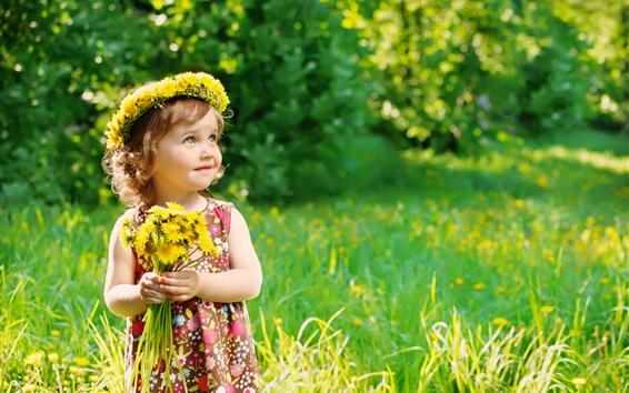 Wallpaper Little cute girl holding flowers, wreath, summer, bokeh