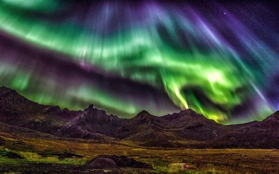 壁紙 ロフォーテン諸島、ノルウェー、美しい夜、オーロラ、星、山