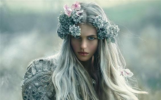 Wallpaper Long hair girl, wreath, makeup