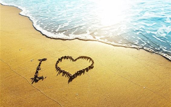 Wallpaper Love heart beach, waves, I Love, sunshine