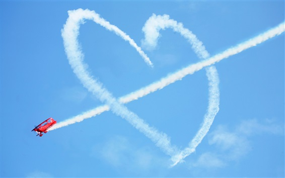 Wallpaper Love heart in blue sky, Cupid arrow, airplane, smoke