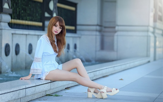 Wallpaper Lovely and pure Asian girl, sit at street side