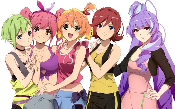 Wallpaper Macross, five anime girls