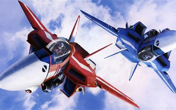 壁紙 マクロス、赤と青の戦闘機