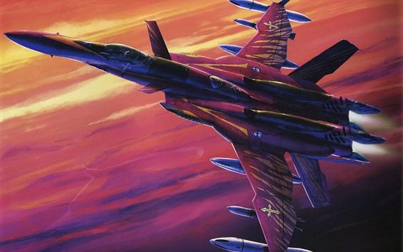 壁紙 空の要塞マクロス、赤戦闘機