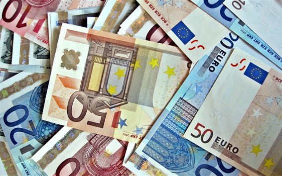 Wallpaper Many Euro paper currency