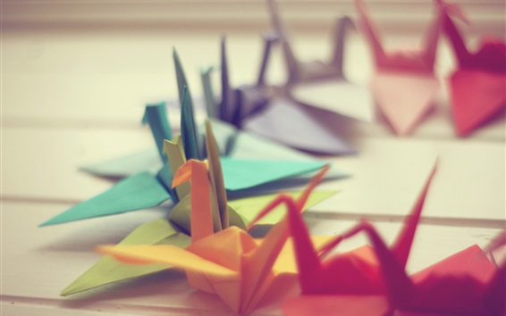 Fond d'écran Beaucoup de grues de papier coloré, origami art