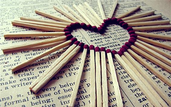 Fond d'écran Matches, journal, coeur d'amour
