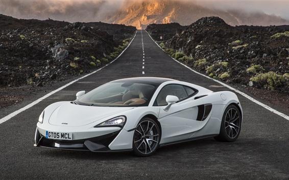 Fond d'écran McLaren 570GT supercar blanc, route