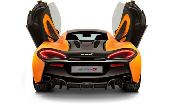 Wallpaper McLaren 570S coupe back view, doors opened