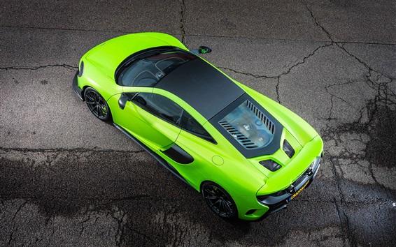 Wallpaper McLaren 675LT green supercar top view