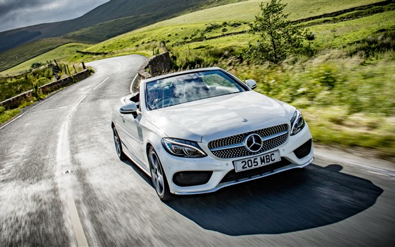 Wallpaper Mercedes-Benz AMG C-Class Cabriolet A205 white car