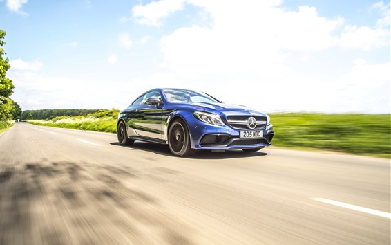 Wallpaper Mercedes-Benz AMG C63 blue coupe speed