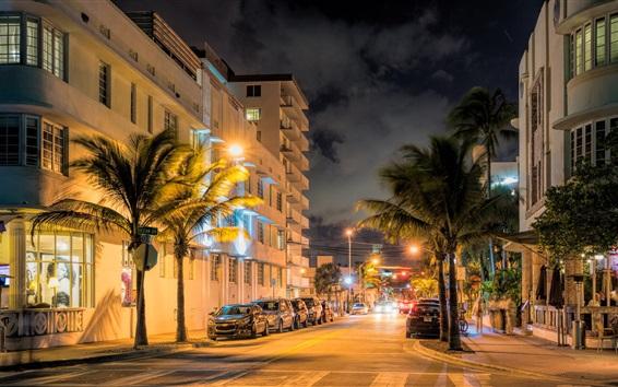 Fond d'écran Miami, Floride, États-Unis, rue de la ville le soir, les lumières