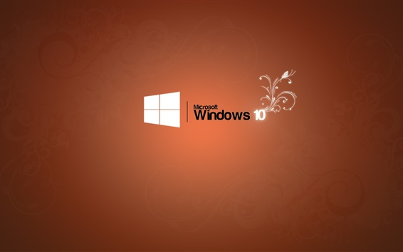 Wallpaper Microsoft Windows 10 logo, orange background