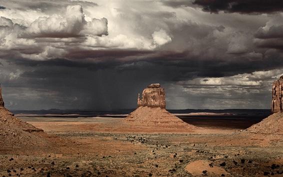 Fond d'écran Monument Valley, Arizona, Etats-Unis, tempête, ciel nuageux