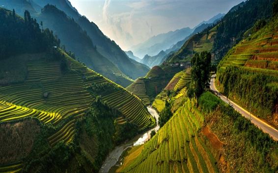 Fond d'écran Mu Cang Chai terrasse, Vietnam, beau paysage, les montagnes, les champs de riz