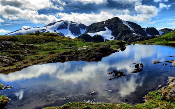 Fond d'écran Nature paysage, montagnes, roches, neige, lac, nuages