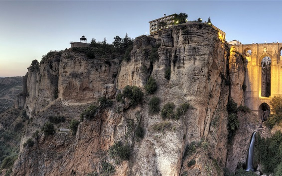 Wallpaper New Bridge, Ronda, Malaga, Spain, cliff, houses, dusk