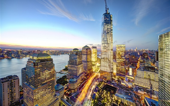 Wallpaper New York City, Manhattan, USA, World Trade Center, skyscrapers, dusk, lights