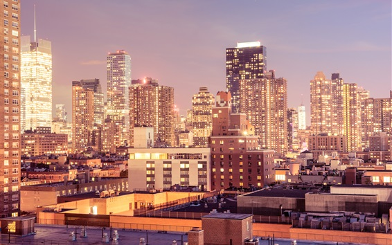 Wallpaper New York, Manhattan, USA, city night, lights, buildings, skyscrapers