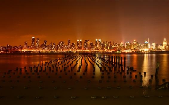 Fond d'écran Ville de New York, Etats-Unis, de la jetée, la rivière Hudson, nuit, gratte-ciel, lumières