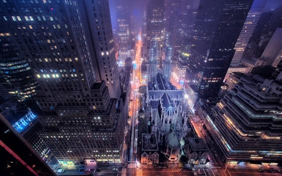 Fond d'écran New York, vue nocturne de la ville, la rue, les bâtiments, les gratte-ciel, des lumières