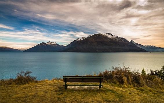 Wallpaper New Zealand, Queenstown, mountains, lake, bench, dusk