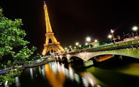 Wallpaper Night view Eiffel Tower, Paris, France, Seine river, lights, bridge