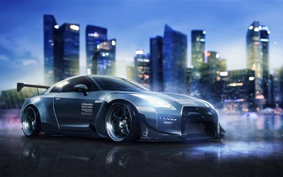 Обои Nissan GT-R R35 суперкар, ночь, город