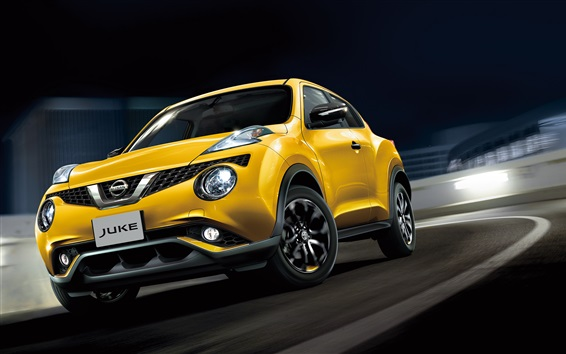 Wallpaper Nissan Juke yellow car speed