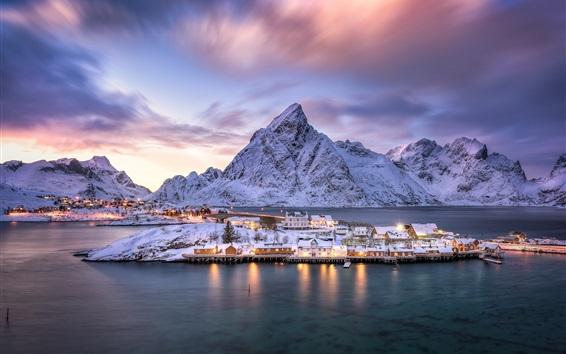 Wallpaper Norway, Lofoten archipelago, village, island, fjord, mountains, snow, dusk, lights