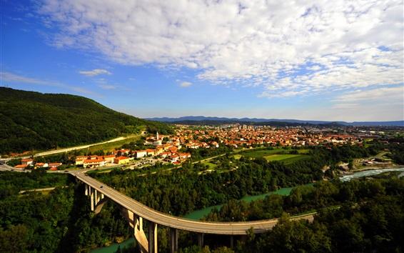 Wallpaper Nova Gorica, Slovenia, city view, road, river, houses, trees, clouds