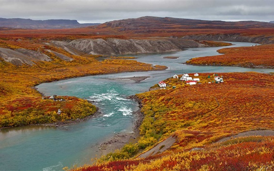 Wallpaper Nunavut, Canada, river, mountains, houses