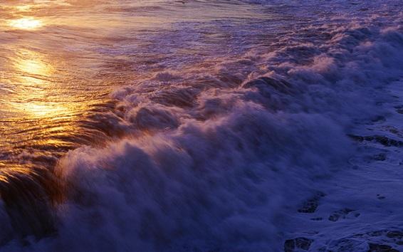 Fond d'écran Surf océan, vagues, coucher de soleil