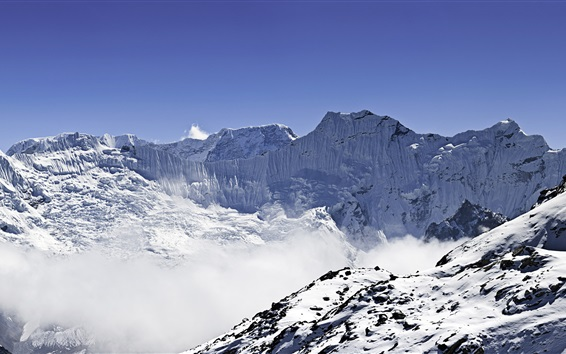 Wallpaper Panorama of Himalayas, Ama Dablam and Makalu, snow