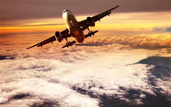 Wallpaper Passenger plane flying on clouds top