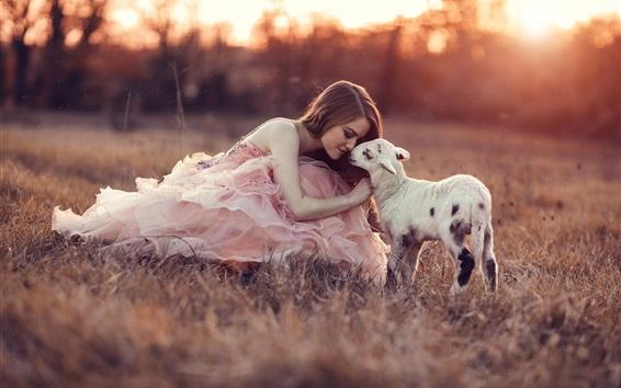 Wallpaper Pink dress girl with sheep, grass, sunset