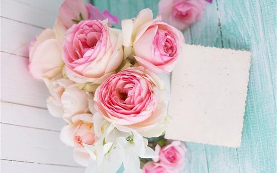 Wallpaper Pink rose flowers, bouquet, wood board