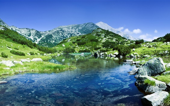 Wallpaper Pirin Mountains, Bulgaria, river, rocks
