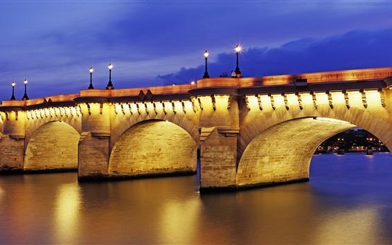 Fond d'écran Pont Neuf, crépuscule, illumination, Paris, France