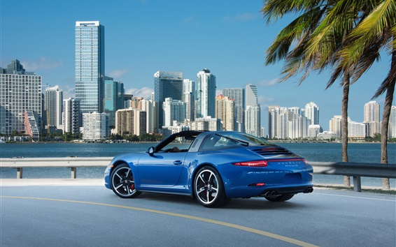 Fond d'écran Porsche 911 Targa 4S supercar bleue à la ville