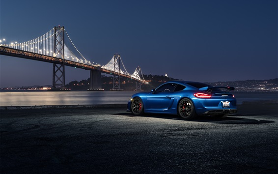 Wallpaper Porsche Cayman GT4 blue car at night