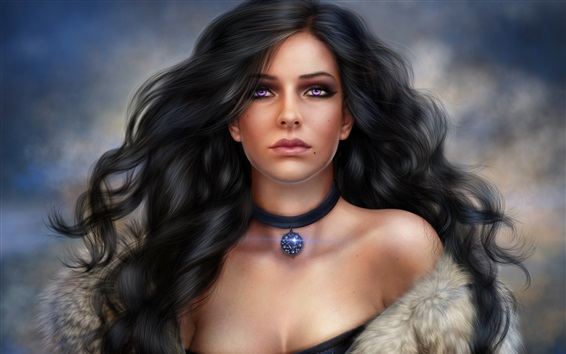 Wallpaper Purple eyes fantasy girl, brunette, diamond jewelry