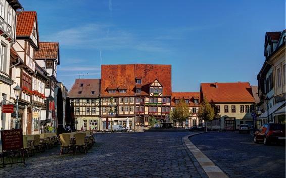 Wallpaper Quedlinburg, Germany, houses, street, road