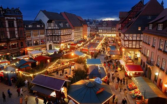 Fond d'écran Quedlinburg, Allemagne, nuit, lumières, marché